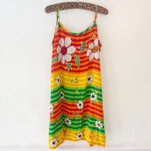 Vintage Rasta Floral Beach Tank Dress L